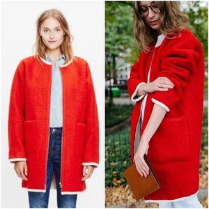 Madewell Collarless Shearling Lined Cocoon Coat